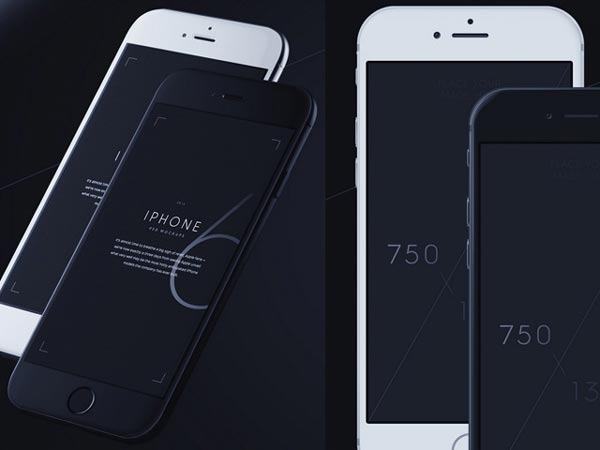 iPhone 6 mockups – 3/4 + front views
