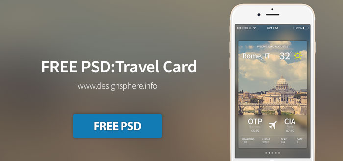 FREE PSD: Travel Card iOS
